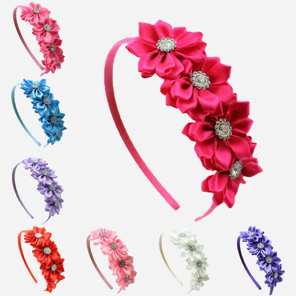 Satin Ribbon Flower rhinestone baby girl hair flower band Korean style princess headband children accessories - Baby Accessories Supermarket store