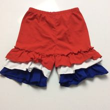 4th of July Girls Toddler Summer knit Cotton Double girls Ruffle Shorts Red Short with Royal Blue White Ruffle short pants(China (Mainland))