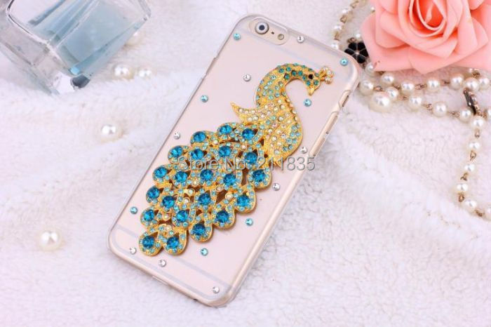 Handmade Rhinestone Jewelry Diamond Transparent Ballet Girl Peacock Mirror Flower Case For iPhone 4 4S Promotions Simple Cover(China (Mainland))