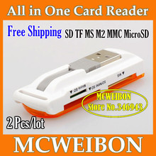 Brand USB 2.0 ALL IN 1 Multi Micro CARDREADER SD MMC MS M2 SDHC Consumer Electronics Accessories&Parts Free Shipping Wholesale