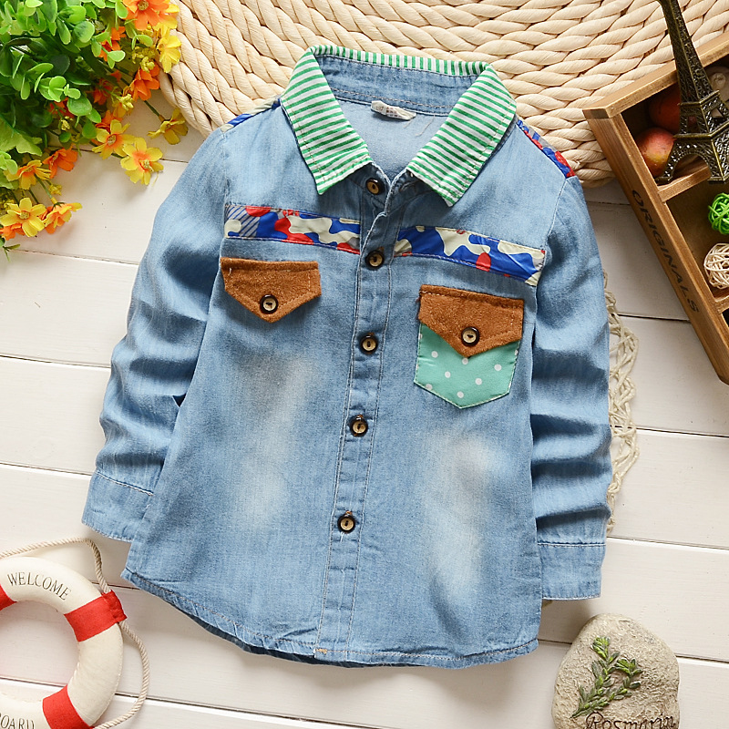 Kids Cowboy Shirts Baby Boys Fashion Full Sleeve Tops High Quality Children Casual Clothing Cute Striped Print Free Shipping(China (Mainland))