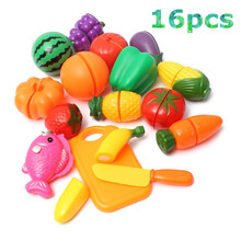 Plastic Kitchen Food Fruit Vegetable Cutting Toys Kids Pretend Play Educational Toys Cook Cosplay For Chiledren(China (Mainland))
