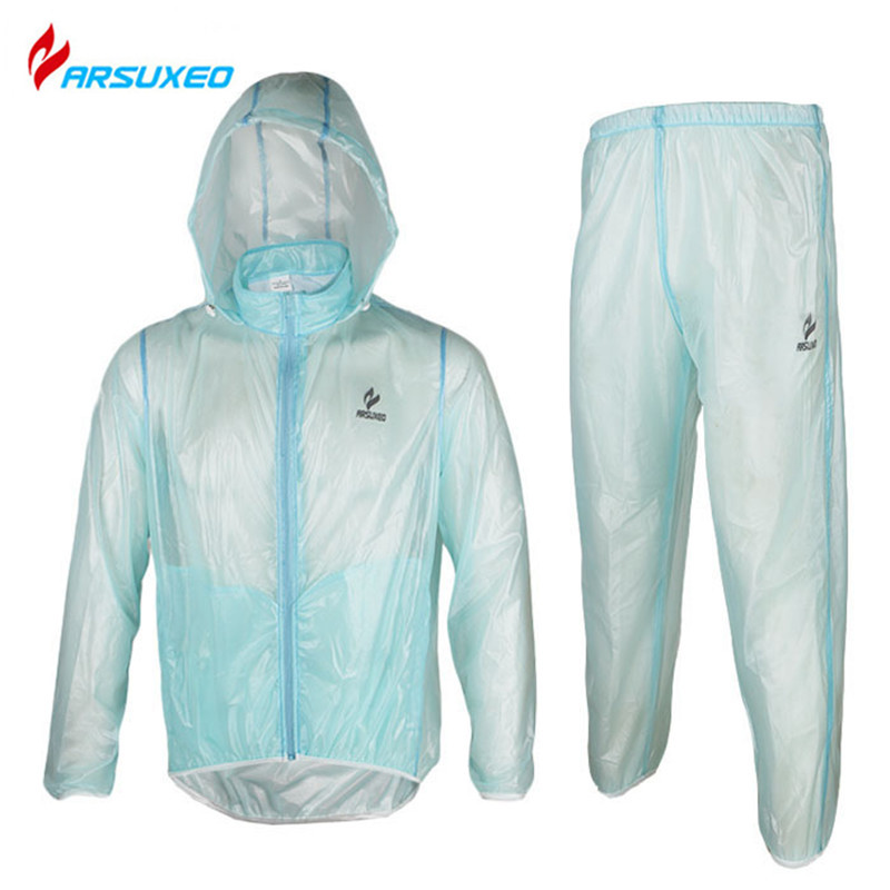 ARSUXEO Mens Outdoor Sports Waterproof Windproof Pack Rain Coat and Pant Set Cycling Bike Bicycle Running Jacket Coat Clothing<br><br>Aliexpress