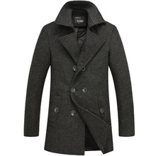2015 new winter men's double-breasted wool coat thicker England men's woolen coat jacket free shipping.FY0907(China (Mainland))
