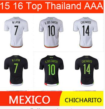 Chicharito 14 MEXICO 2015 COPA AMERICA AWAY jersey soccer white 15 16 Mexico home black football jerseys shirts can customiz(China (Mainland))