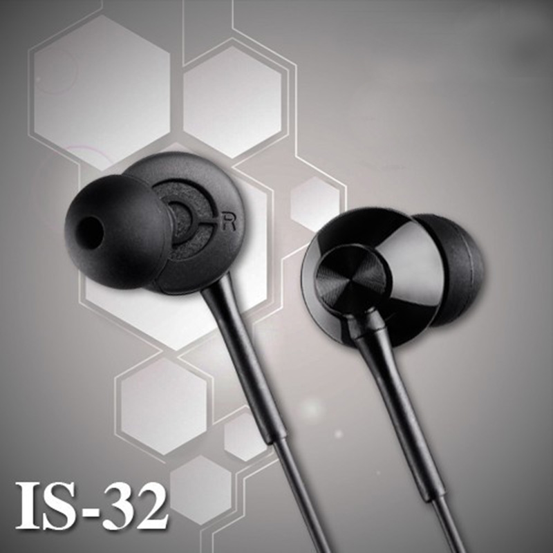 IS-32 3.5mm In Ear Earphones Headpones For Mobile Phone Xiaomi Meizu Deep Bass stereo wired noise resistant eraphones with Mic(China (Mainland))