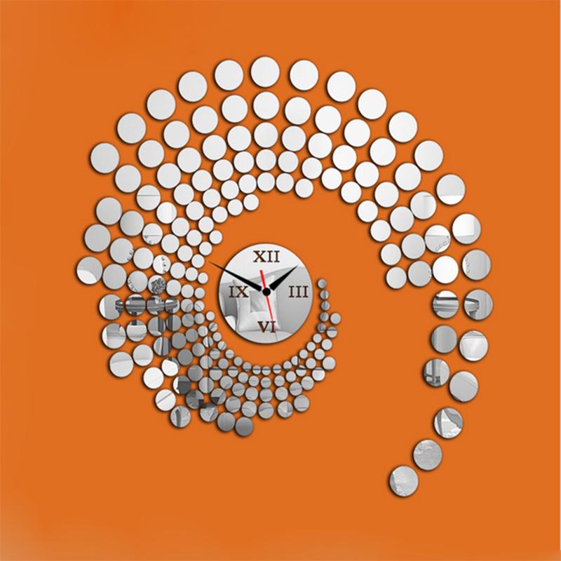2015 New Fashion Diy Wall Clock Modern Design Mirror Horloge Murale 3d Crystal Mirror Wall