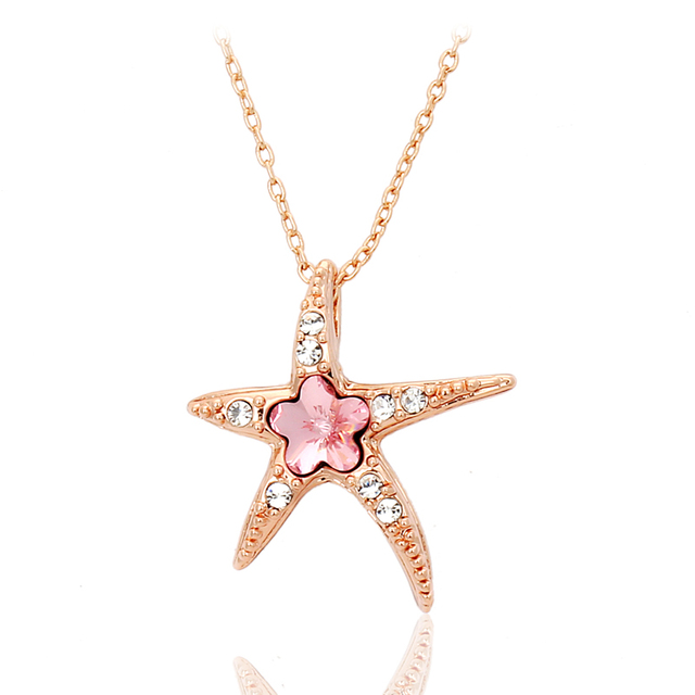 Top Quality Starfish with Wintersweet Necklace 18K Rose Plated Fashion Jewellery Nickel Free Pendant Crystal ZYN043 ZYN044