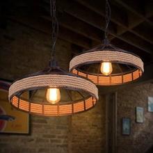 Single Head Retro Rope Lights Loft Vintage Lamp Bedroom Dining Room Pendant Hand Knitted Hemp Rope Hanging Light Suspension(China (Mainland))