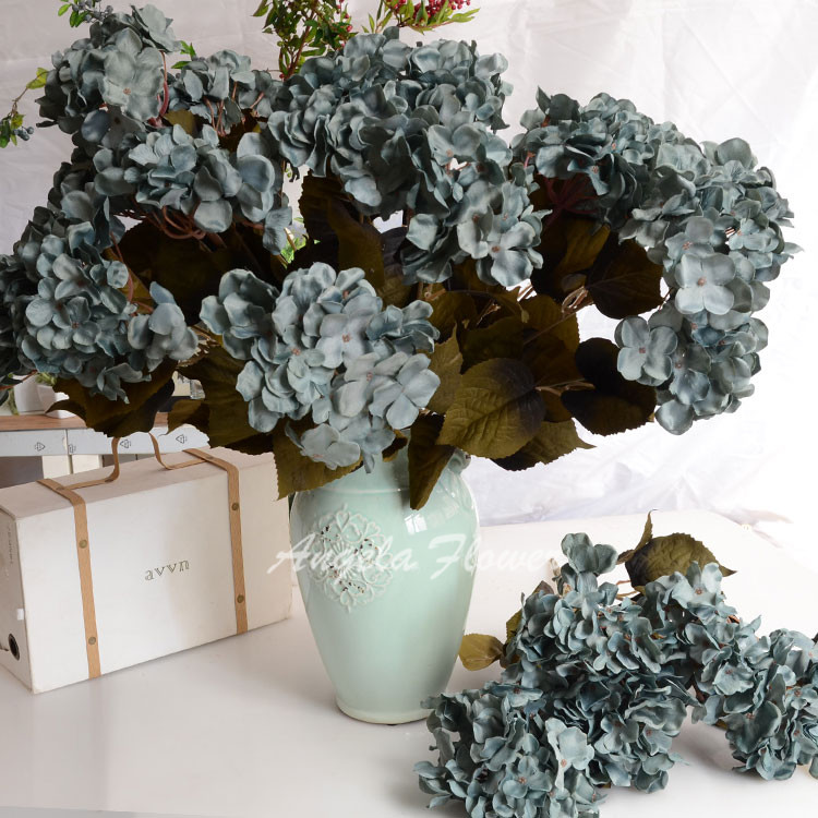5 heads/bouqeut Vintage Style silk hydrangea flower decorative artificial flower for wedding home party with leaf(China (Mainland))