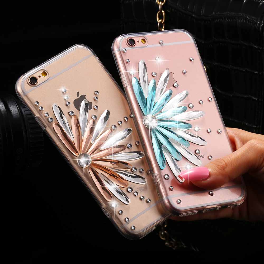 i6/6S Plus Clear Cover Bling Diamond Flower Rhinestone Case For iPhone 6 6S 4.7 For iPhone 6+/ 6S Plus Fashion Accessories Shell(China (Mainland))