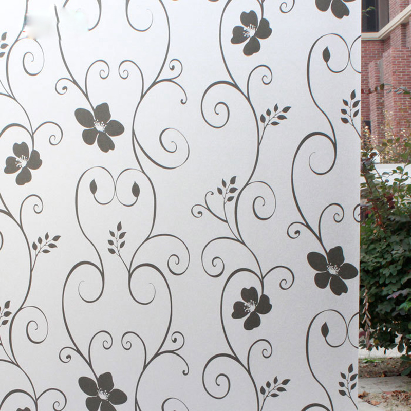 "45 * 100 cm / 17.7 ""* 39.4"" Matte Frosted Window Film Privacy Window Stick Home Decorative Film White Black Wrought Iron Flower(China (Mainland))"