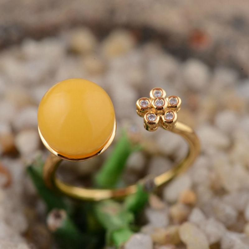 100% real pure 925 sterling silver ring exquisite silver yellow Beeswax flower open Rings Best Gifts for women jewelry  <br><br>Aliexpress