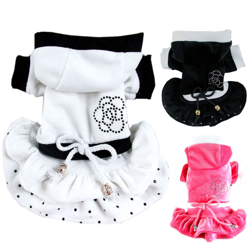 Designer Pet Dogs Princess Dress Bling Camellia Puppy Doggie Pets Velvet Dresses Sports Clothes Hoodie Tracksuits Dogs Products(China (Mainland))