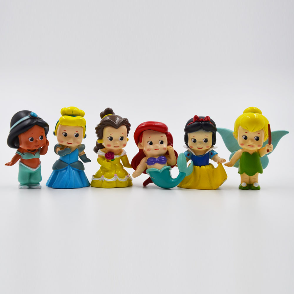 Disney Princess Hot Toys for Kids Anime Cartoon Snow White 6Pcs/Set Action Figures Dolls Car Anime Figure Juguetes Ty836(China (Mainland))