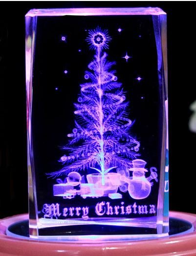 Top Quanlity 3D laser in 5*5*8cm Crystal Cube, 3D laser Christmas tree Rotation Music Box For Birthday's Gift, Led light base(China (Mainland))