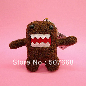 "Free Shipping 200pcs Cute Domo Kun Plush Doll Toy Keychain 3.5"" baby kids phone keychain Domo kun keychain nice tags"