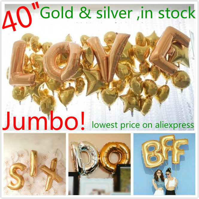 4pcs/lot Jumbo letter 40inch gold silver foil balloons 113*67cm(deflated) largest letter air ballons wedding party decorations(China (Mainland))
