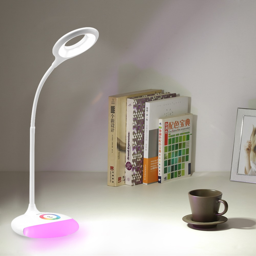 Hot USB Touch Sensor Kids LED Flexible Desk Table Lamp 256 RGB Color Brightness Eye Care Lamp Light Adjustable LED Lamp for Home(China (Mainland))