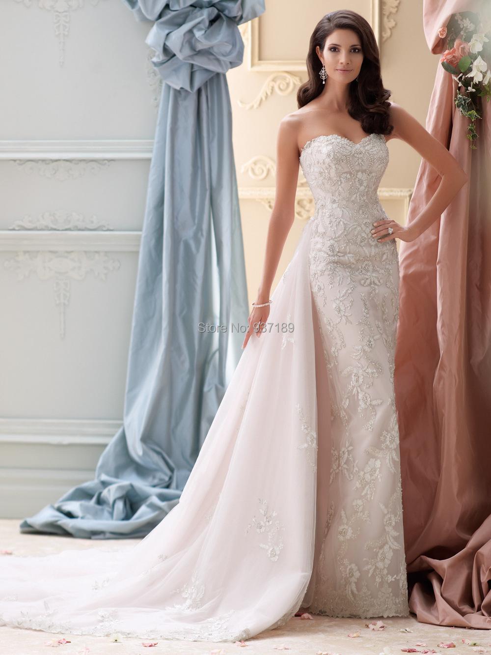 Mermaid Wedding Dress With Detachable Train : Latest design hot summer new mermaid lace wedding