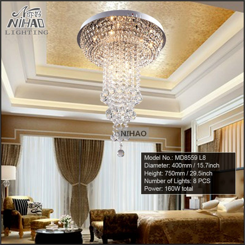 Diameter 400mm Round Crystal Ceiling Light long lustres de cristal light fixture Modern Crystal lamp fitting home decoration<br><br>Aliexpress