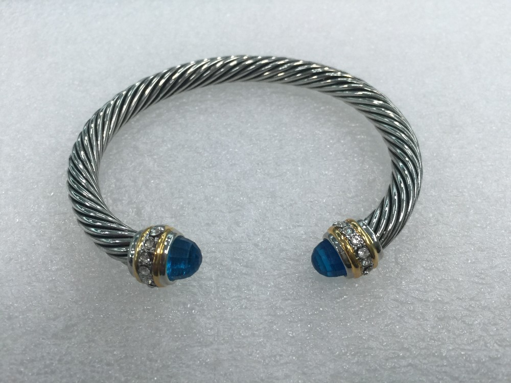 Cable Classics Bracelet with Blue Topaz and crystal(China (Mainland))