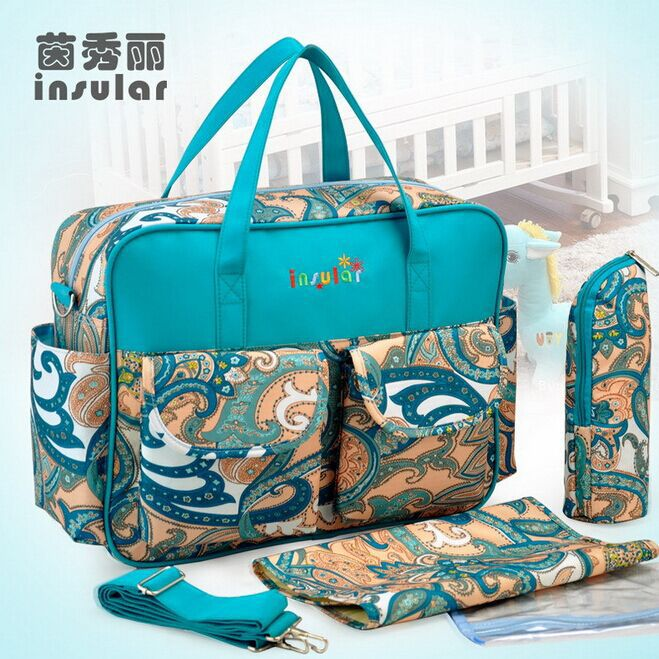 2015 New High-capacity Multifunction Printing Messenger Shoulder Bag Expectant Mother Mummy Bag Package Stroller Diaper Bag(China (Mainland))