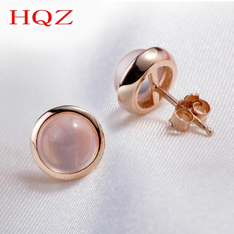 Fashion 18K Rose Plated Natural Ross Quartz Stone Earrings Round Pink Crystal Stud Earrings For Women Bijoux Fine Jewelry(China (Mainland))