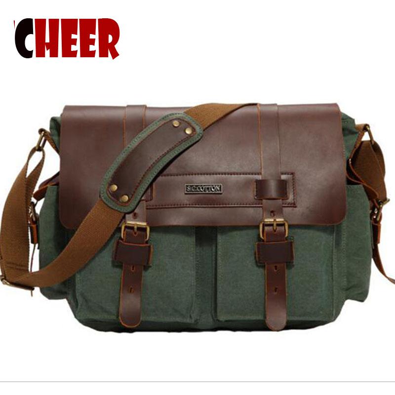 Men's briefcase messenger bag men leather canvas bag man Military Army Vintage Messenger Bolsa Masculina 2016 New Men's Fashion(China (Mainland))