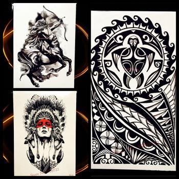 Black Indian God Turtle Totem Temporary Tattoo Stickers Men Body Art Arm Fake Flash Tattoo Legs Shoulder Women Waterproof Tatoos