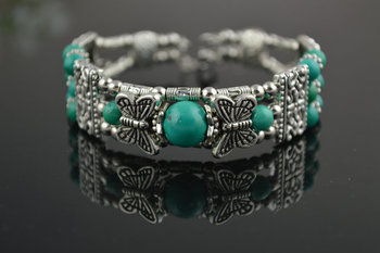 China's Tibet Turquoise round beads ancient silver bracelets Charms bracelet free shipping