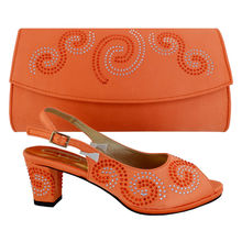 2017 New Italian Style Ladies Shoes And Matching Bag Set Pattern Rhinestones MED Heel Shoes And Bag Set For Party 38-43 ORANGE(China (Mainland))