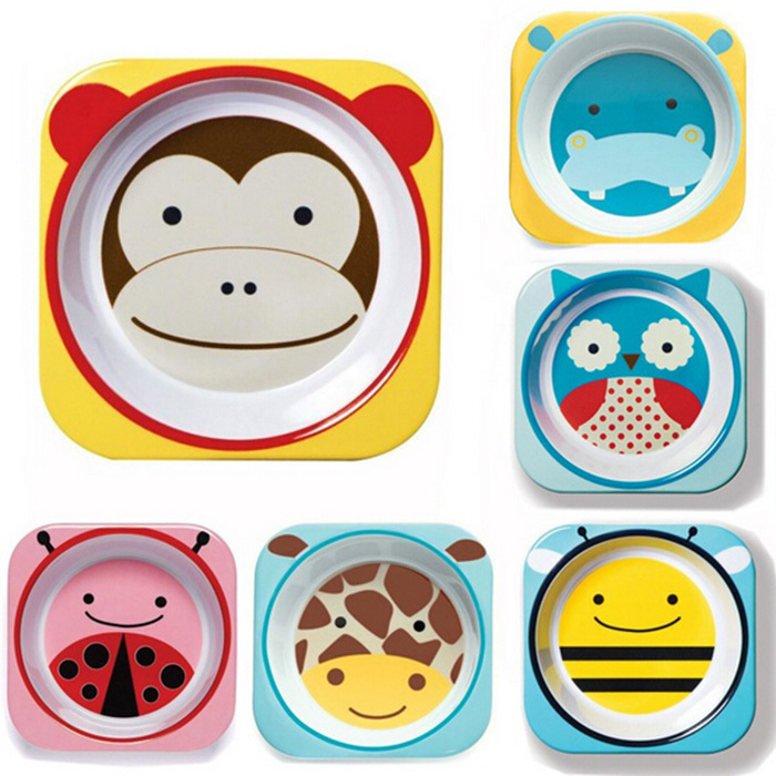 Bakeware American Children's Tableware Zoo Animals Imported Melamine Dishware Baby Plate 6 Color Options(China (Mainland))