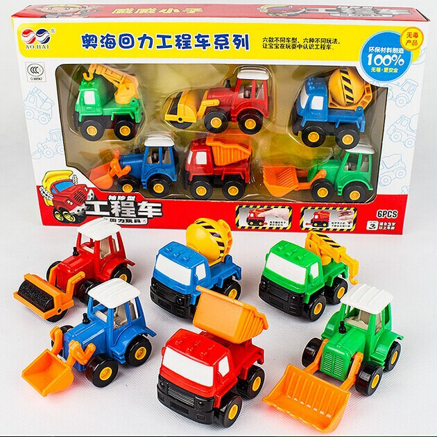 6pcs/set mini vehicle toy set pull back excavator bulldozer model car truck toy wind up gifts toys for children car best selling(China (Mainland))