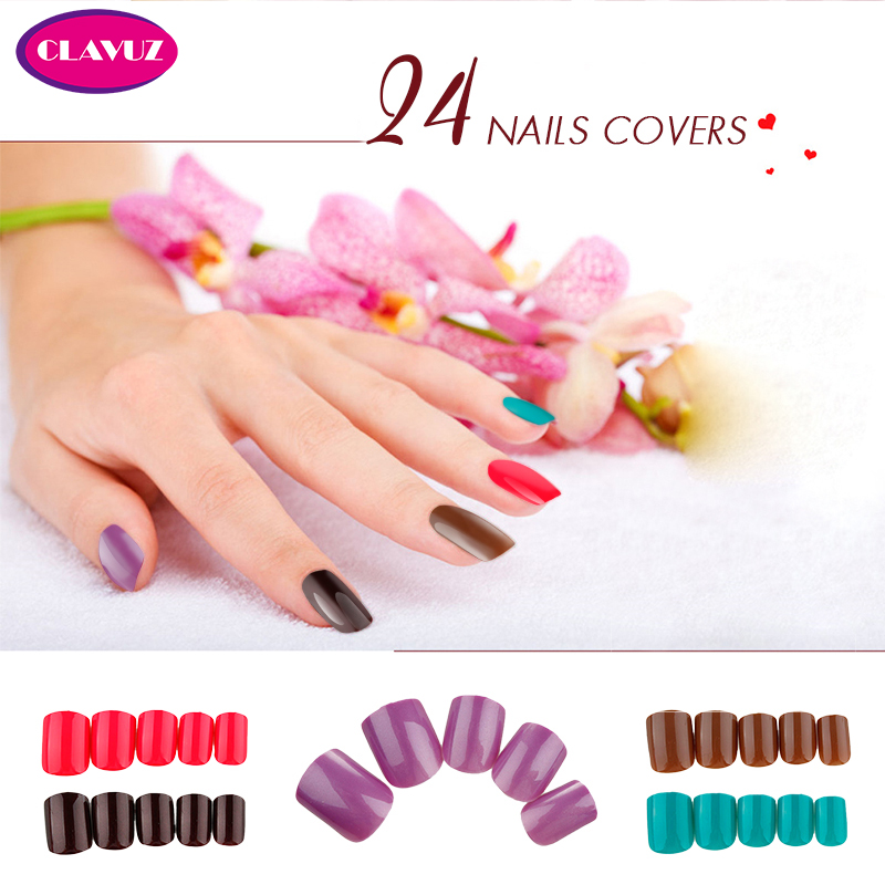 CLAVUZ 24PCS False Tips Press On Manicure Short Length No Glue Needed Hot Sale DIY Nail Tools For Nail Art(China (Mainland))