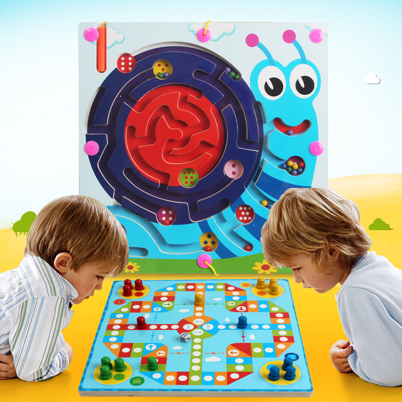 Infant children wooden toys baby puzzle magnetic pen ball maze flight chess 3 - 9(China (Mainland))