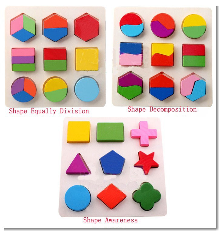 1pcs Wooden Geometric Shape Sorting Boards Toy Recognition Division Plate Multicolour Teaching Aids Puzzle(China (Mainland))
