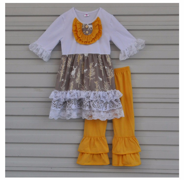 Special Design  Fall Winter Girls Boutiqut Outfits Lace Top Orange Ruffle Pant Wholesale Child Clothes In Stock CX-116
