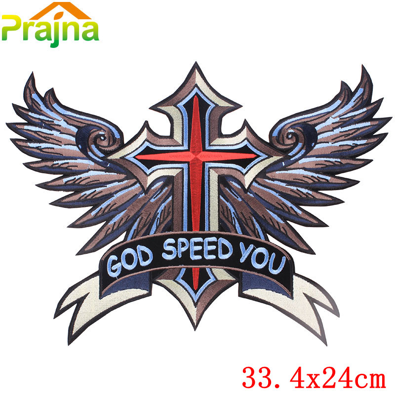 New Skull Cross Wing Angel Cheap Embroidered Iron On Motorcycle Patches For Clothes Big Back Eagle Harley Patch Jacket Applique(China (Mainland))