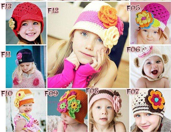 Здесь можно купить  50pc/lot  free shipping children crochet girls flower hat handmade children