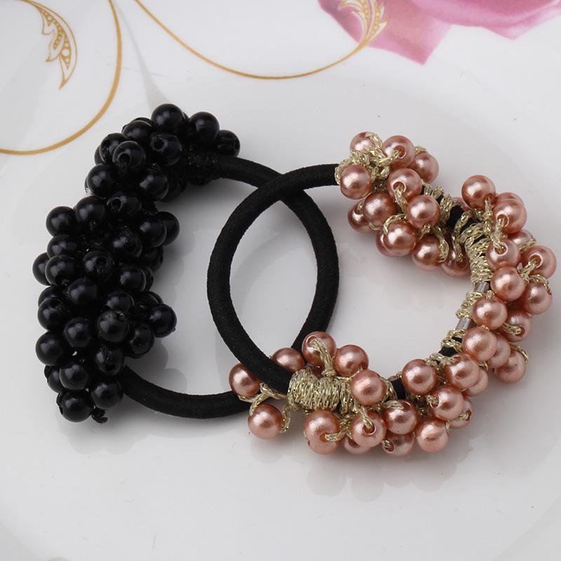 New Korean Women Girl's Headwear Accessories Rhinestone Imitation Pearls Beads Elastic Rubber Band Ties Ponytail Holder Scrunchy(China (Mainland))
