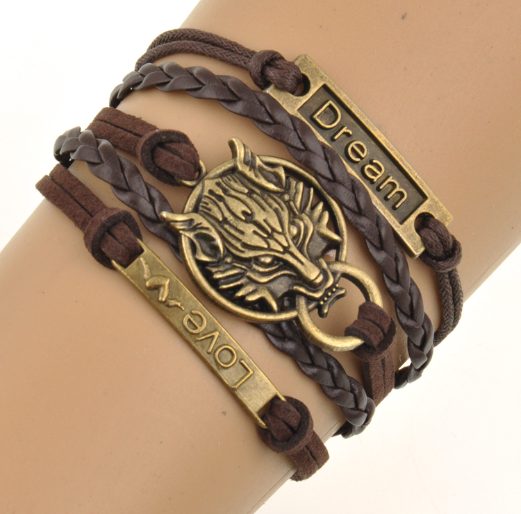 Charm Boho Wolf Style Brown Rope Chain Bracelet Men Jewelry Bracelets For Women Pulseras Mujer With