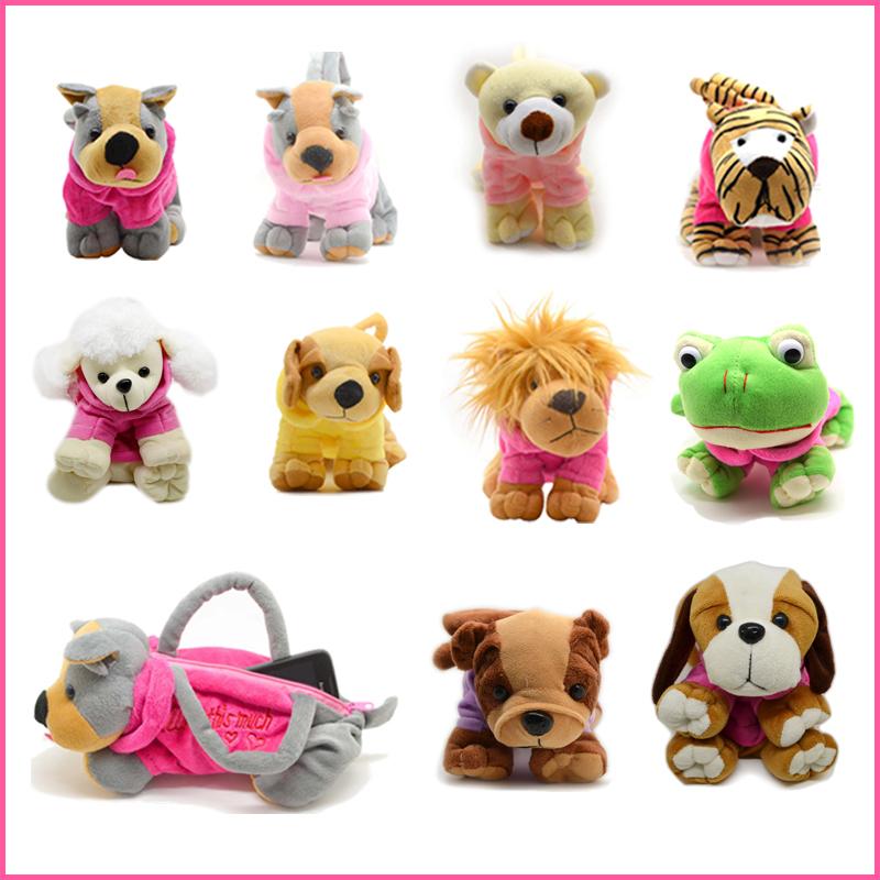 Cute Soft Plush Pet Dog Shaped Bags with Clothes Cartoon Dog Mini Handbags Plush Casual Animal Bags(China (Mainland))