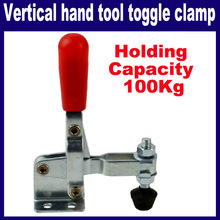 Red Plastic Covered Handle Vertical Hand Tool Toggle Clamp 100kg