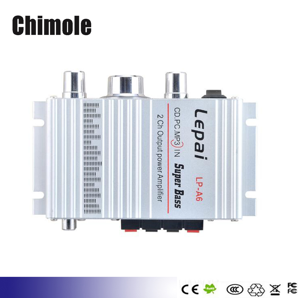 LP - A6 Lepy Mini 2 Ch Hi-Fi Stereo Audio Car Home Output Power Amplifier for Mobile phone MP3 MP4 PC with 12v 3A power(China (Mainland))