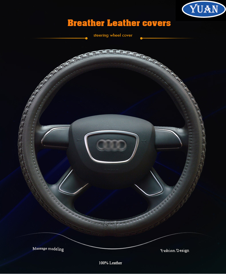 Fashion Massage steering wheel 100% Leather racing steering wheel genuine leather steering wheel cover For Audi A1 A4 A6 A7 R8(China (Mainland))