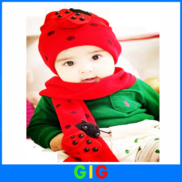 3 colors Hot sell children hat scarf in winter for baby boy  two piece set ladybird beanie hat cap set 1pcs/lot Free shipping