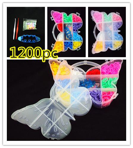 1200PC rubber band Butterfly Box Set diy loom bands gum for bracelets loom rubber band bracelet , rezinochki for bracelets(China (Mainland))