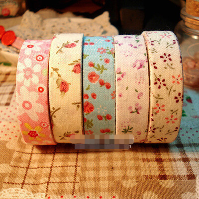 10 pcs/lot DIY Cute Fabric Flower Lace Stripe Making Sticky Tapes For Decoration Scrapbooking Products Free shipping 915(China (Mainland))