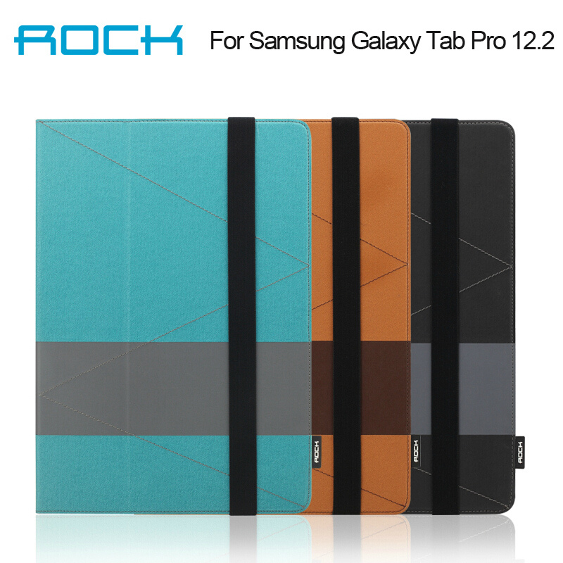 For Samsung Galaxy Tab Pro 12.2 Rock Shuttle Series Sleep And Wake Up Function Two Fold Stand Leather Case Free Shipping<br><br>Aliexpress